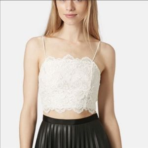 Topshop White Scalloped Lace Crop Top Size 6